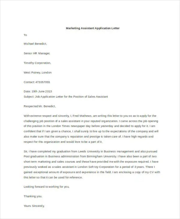 Cover Letter Marketing Internship Examples