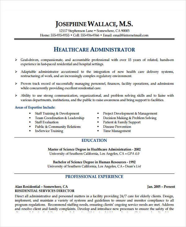 20 Basic Administration Resume Templates PDF DOC