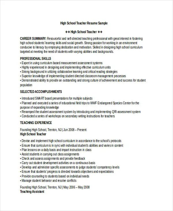28 Teacher Resume Templates Download Free & Premium