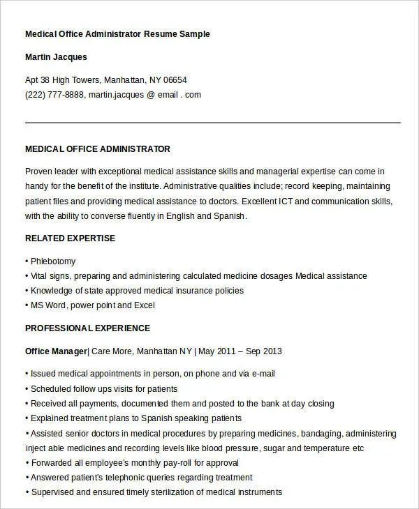 medical office resume template