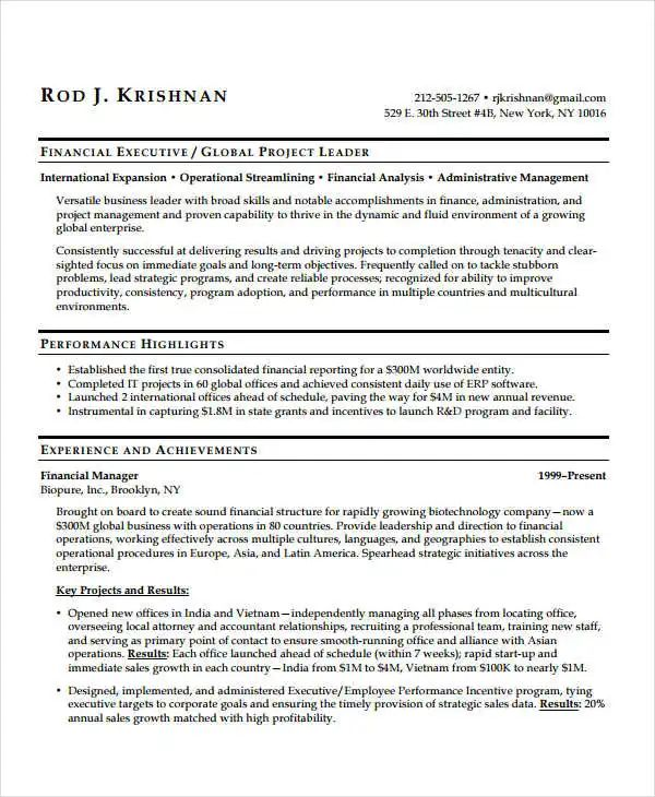 sample resume of a hr executive