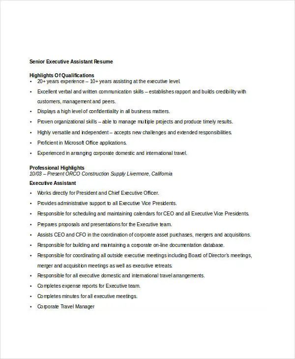 assistant it executive resume samples