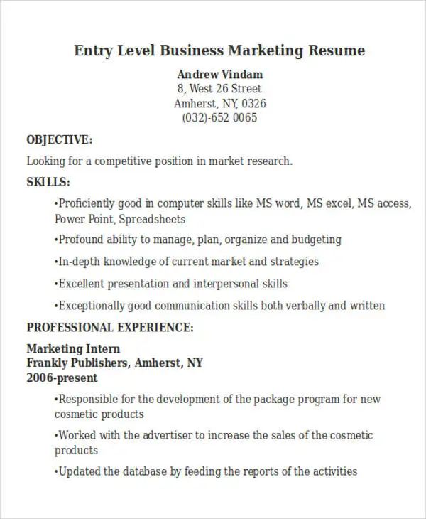 entry level business management resume sample