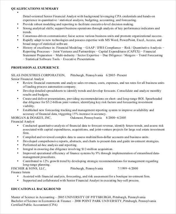 operation analyst resume template