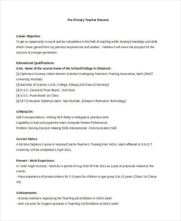 pre primary school teacher resume sample - resume primary teacher annecarolynbird