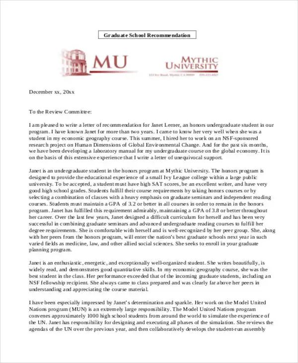nursing school letter of recommendation