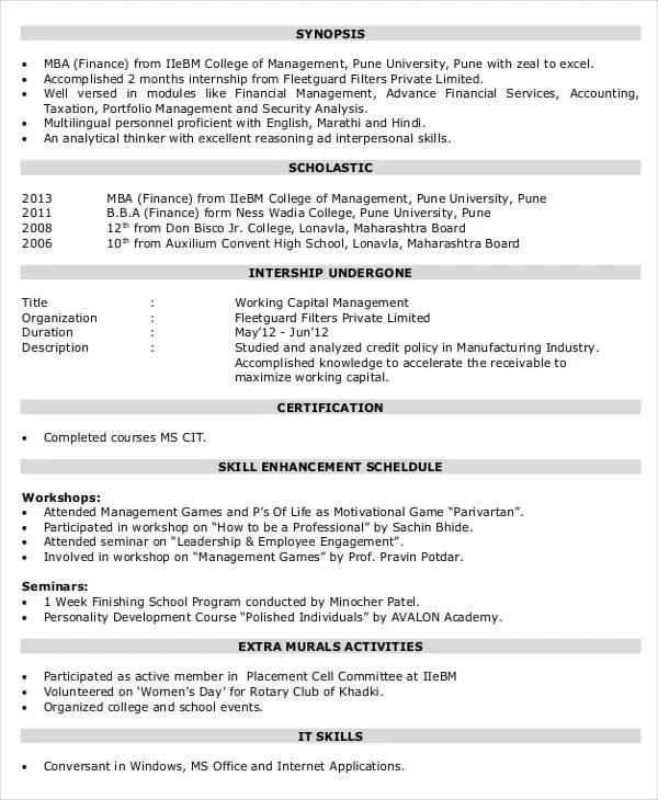 Finance Resume Format - Resume Sample