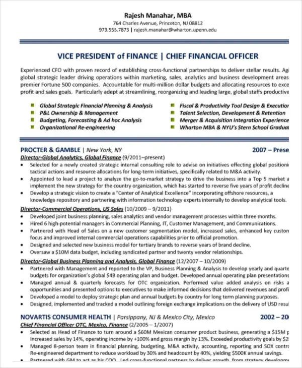 resume templates for business finance