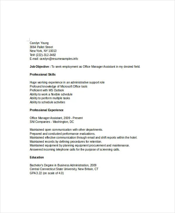 Manager Resume Sample Templates 43 Free Word PDF Documents
