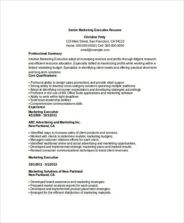 Free Executive Resume Templates 34 Free Word PDF