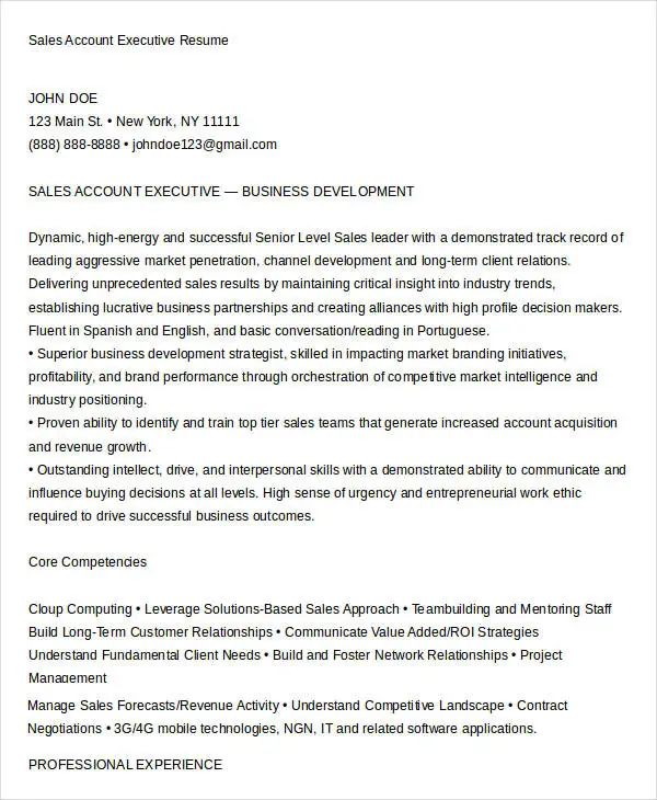 sample resume account manager sales