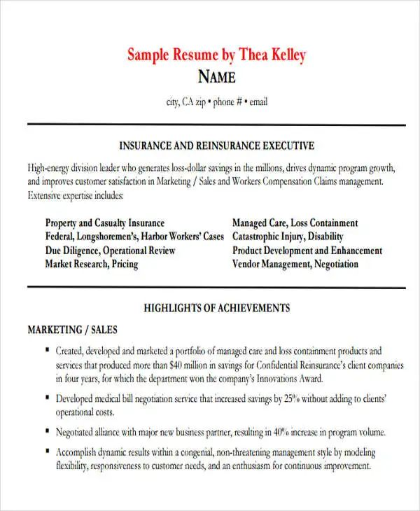 resume for sales executive