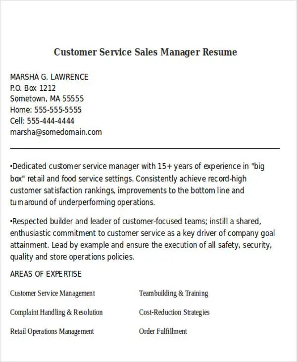 resume of experience sales