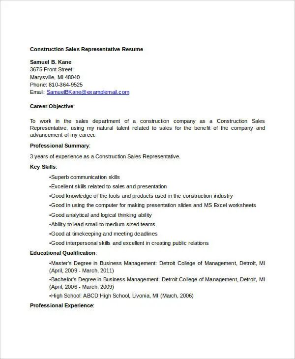 10 samples of construction resumes