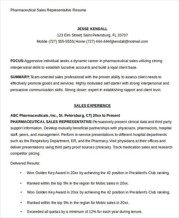 resume example for a sales representative