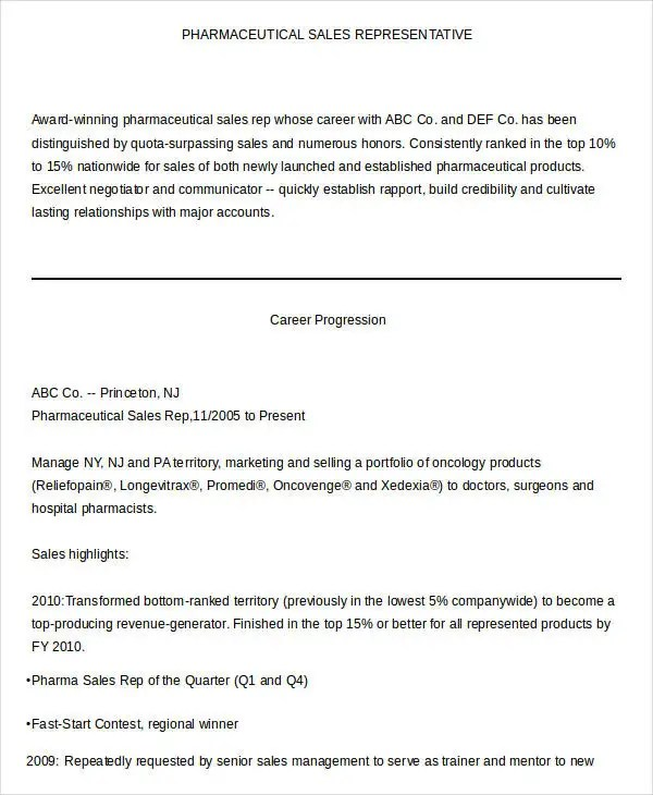 Sales Resume Template - 24+ Free Word, PDF Documents Download | Free ...