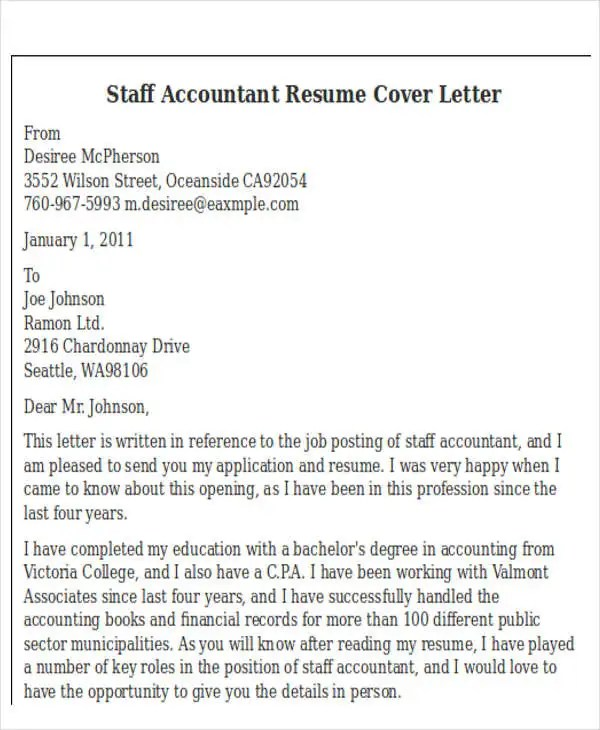 Cover Letter Resume Accounting | Best Collection Rooms Chairs