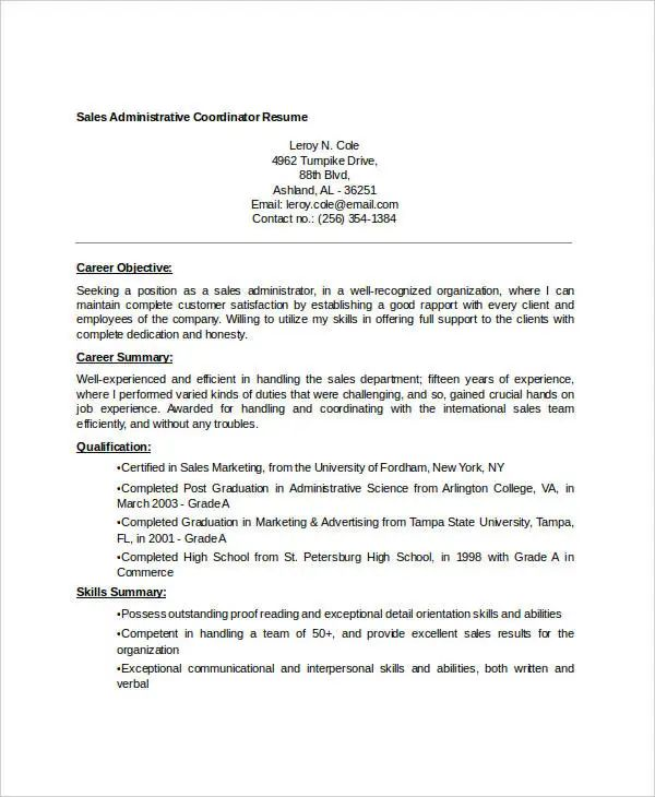administrative resume templates