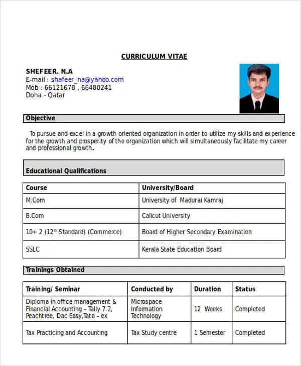 sample resume format for freshers accountant