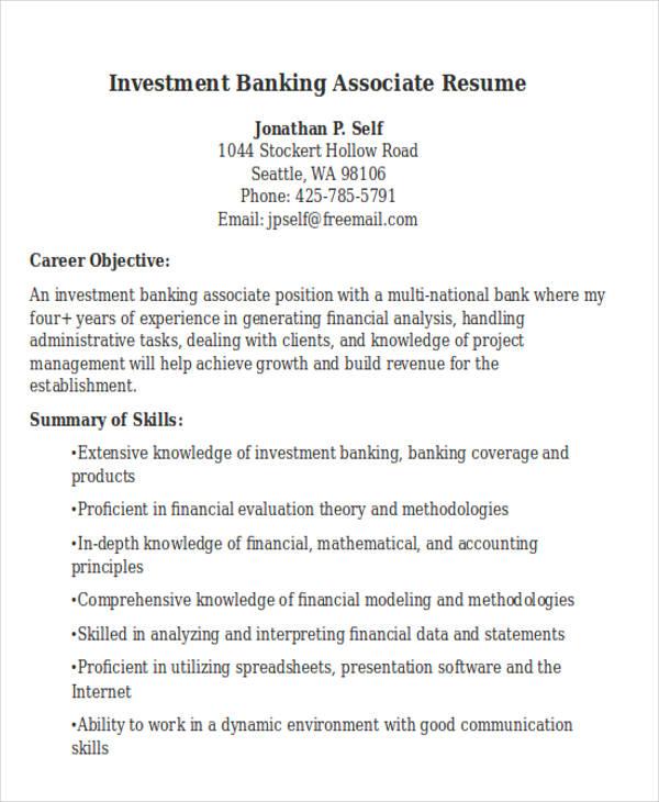 21 Banking Resume Templates Free Premium Templates Investment Banking  Associate Resume  Investment Banking Associate Resume