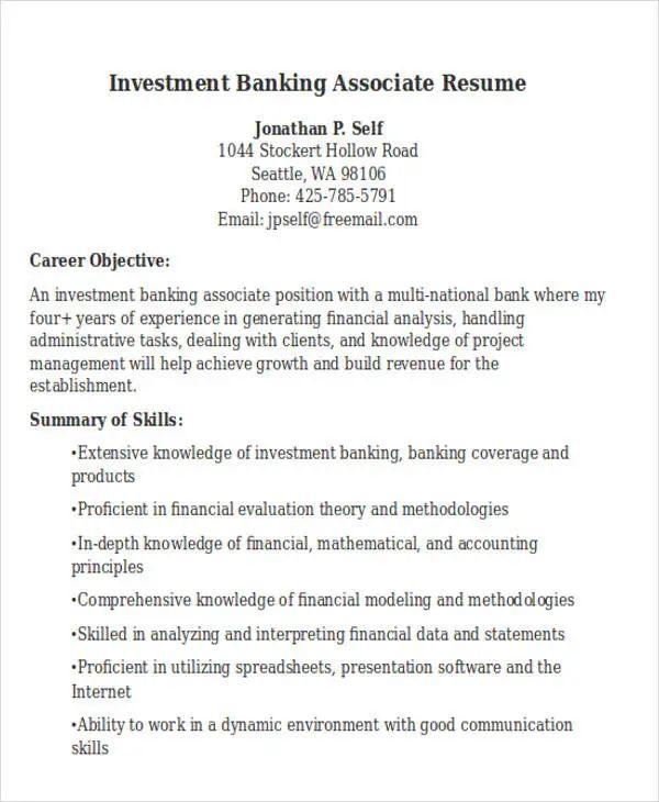 business banking resume template