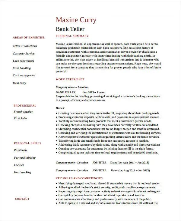teller resume examples