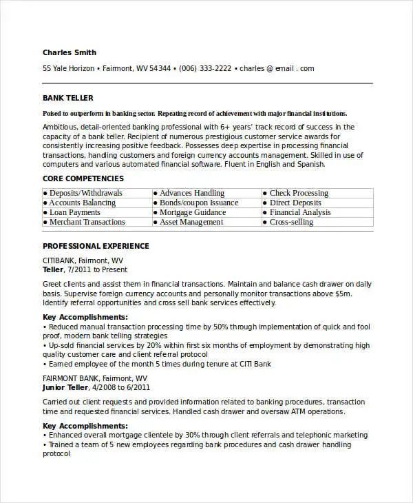 banking position resume sample