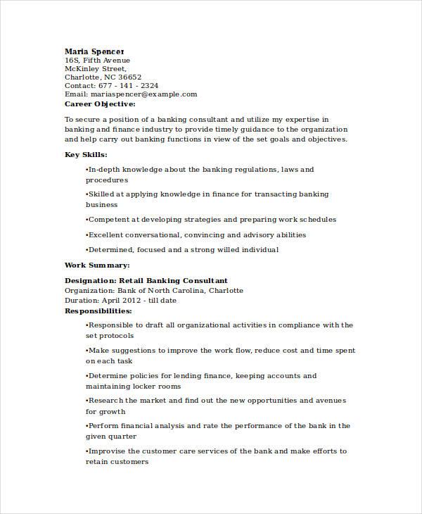 30 Basic Banking Resume Templates  PDF DOC  Free  Premium Templates
