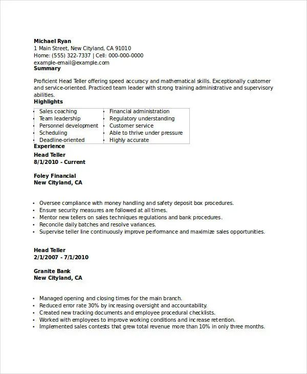 teller resume samples