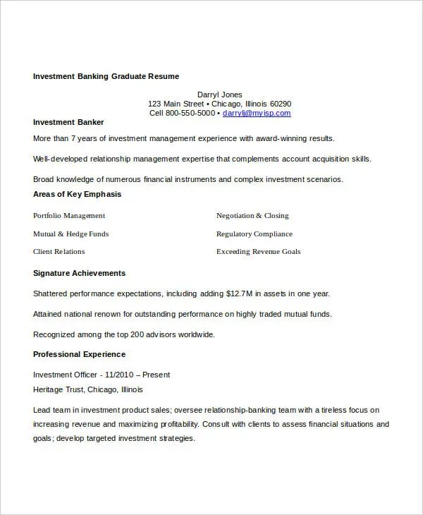 investment banking resume sample download