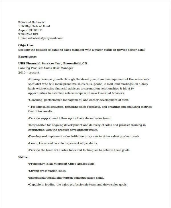 Banking Resume Samples  45 Free Word PDF Documents