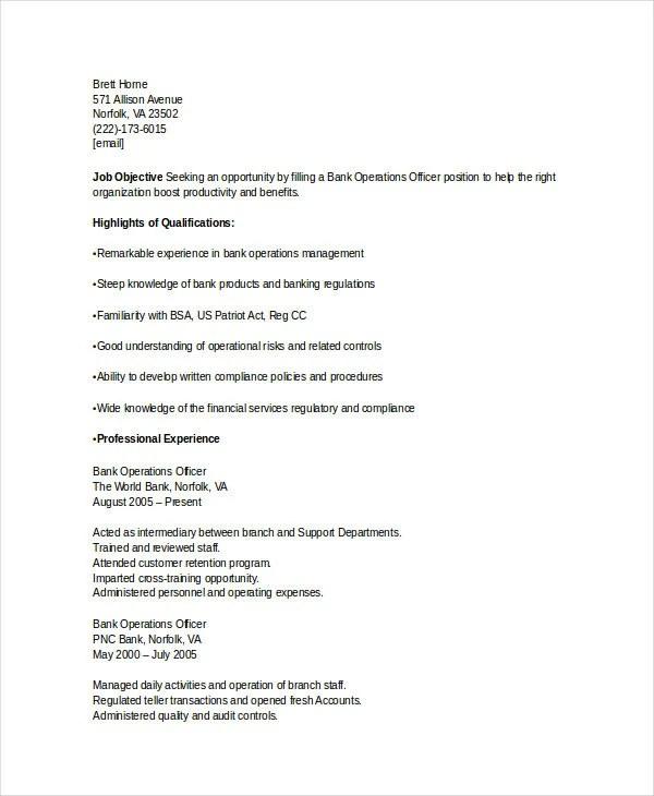 Banking Resume Samples  45 Free Word PDF Documents Download  Free  Premium Templates