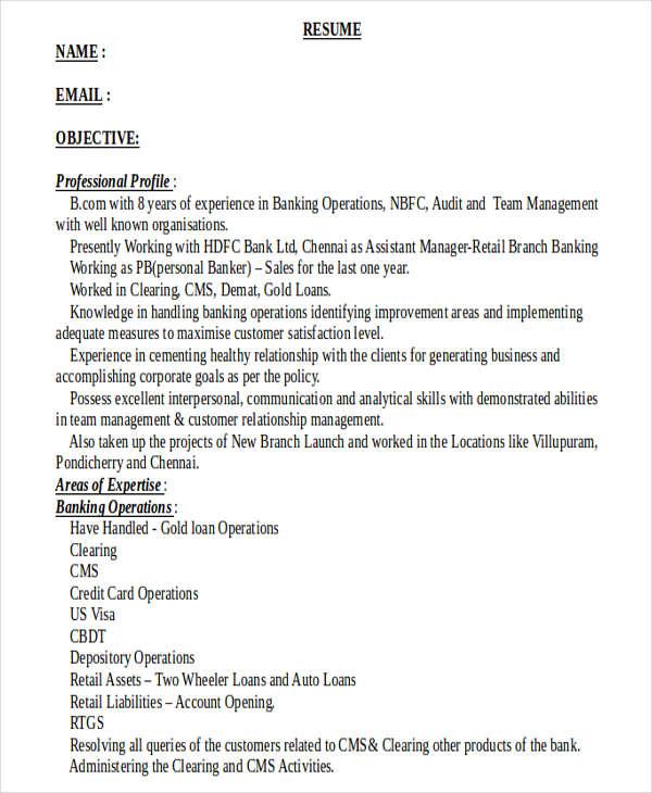 18 Banking Resume Templates PDF DOC Free & Premium