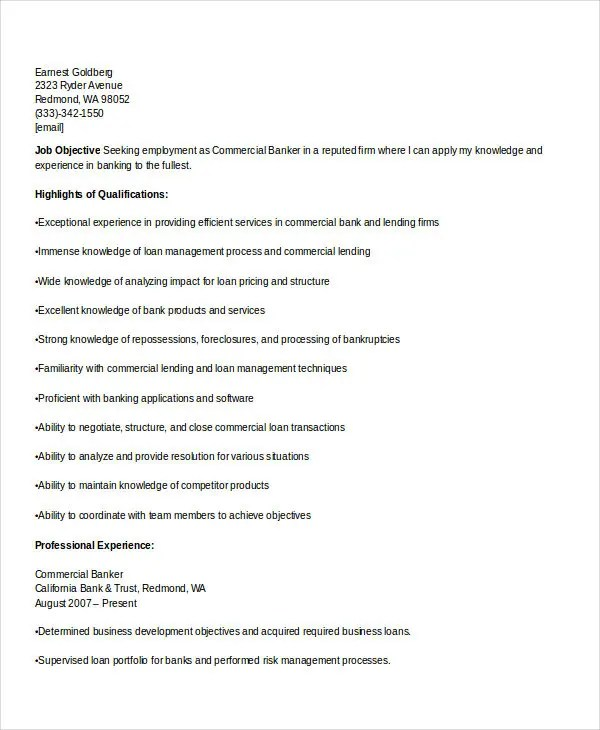 commercial banker resume