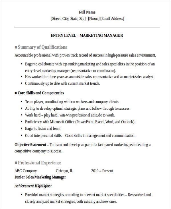 Junior Sales Resume