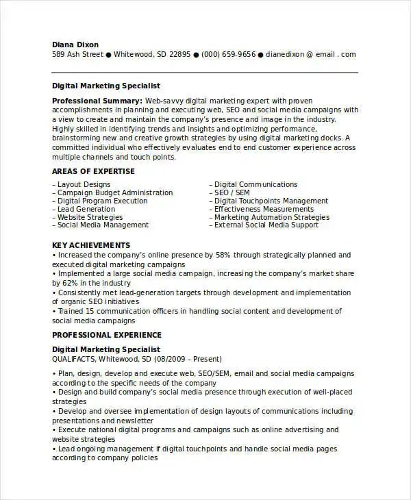 Marketing Resume Examples 47 Free Word PDF Documents