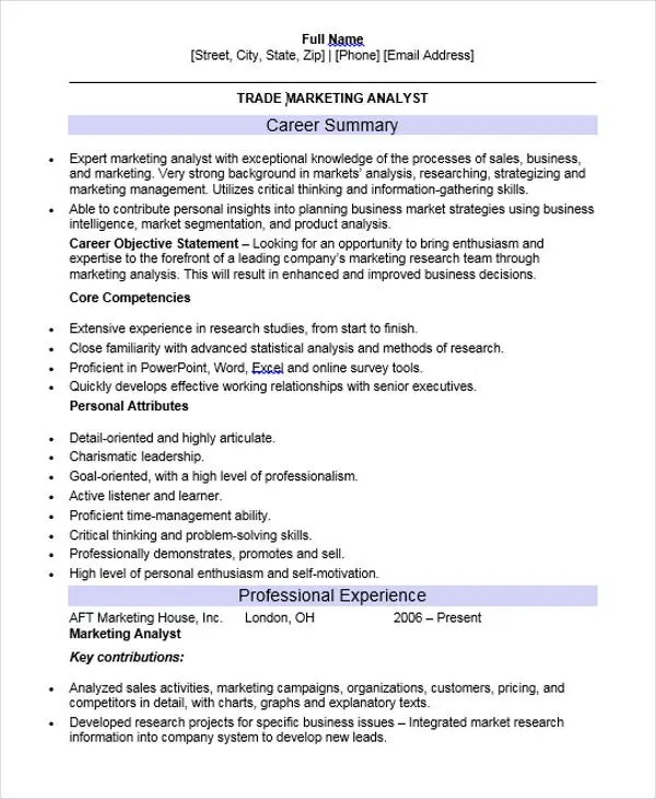 Lovely ... Trade Marketing Analyst Resume ...