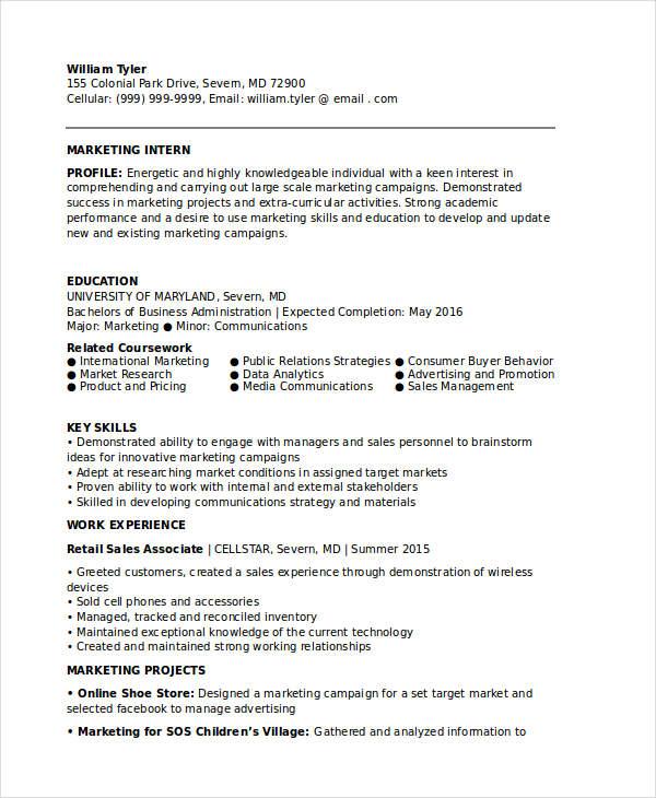 resume for internship download