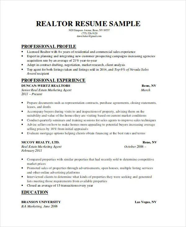 sample executive resume format