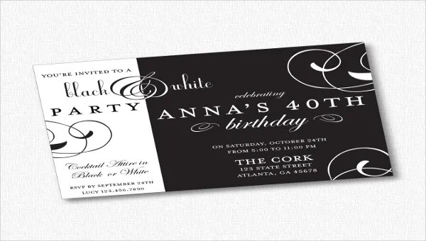 11 black and white party invitations