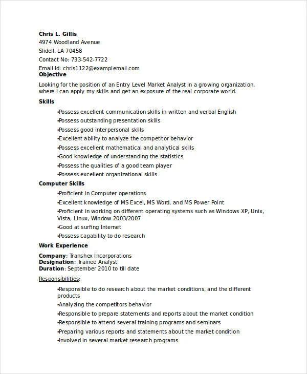 entry level sales resume samples