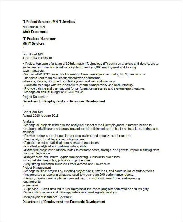 It Project Manager Resume Indeed - Inspirational Interior style