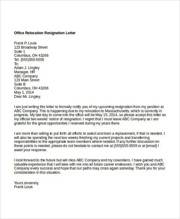 10 Relocation Resignation Letter