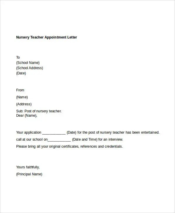 11 Teacher Appointment Letters Free Sample Example