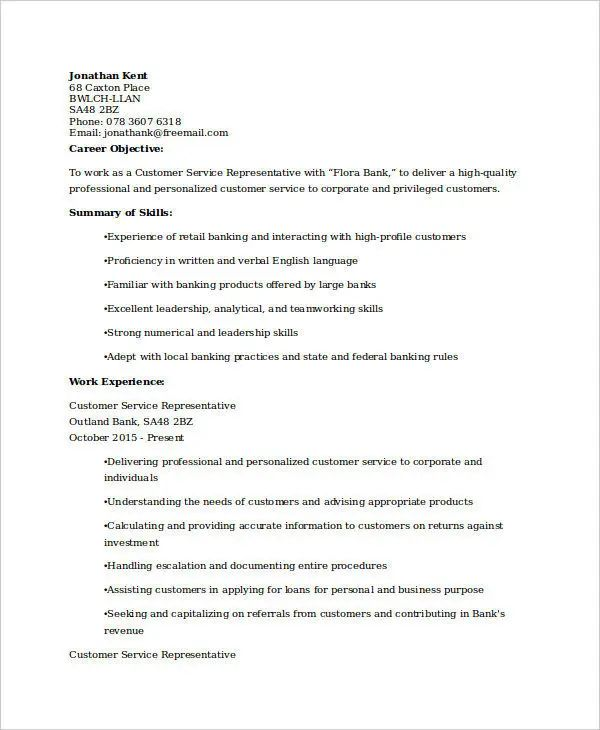customer service resume sample india