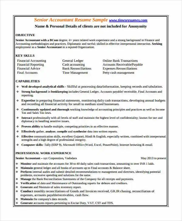 resume samples for accounting jobs in india