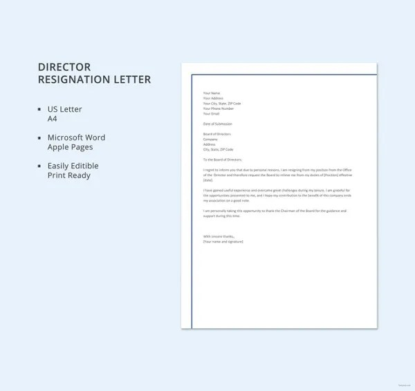 9 Official Resignation Letter Template  9 Free Word PDF Format Download  Free  Premium