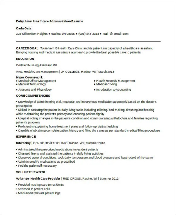Entry Level Healthcare Administration Resume Examples - Examples of ...