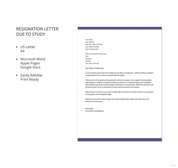 Resignation Letter Due To Health Reasons