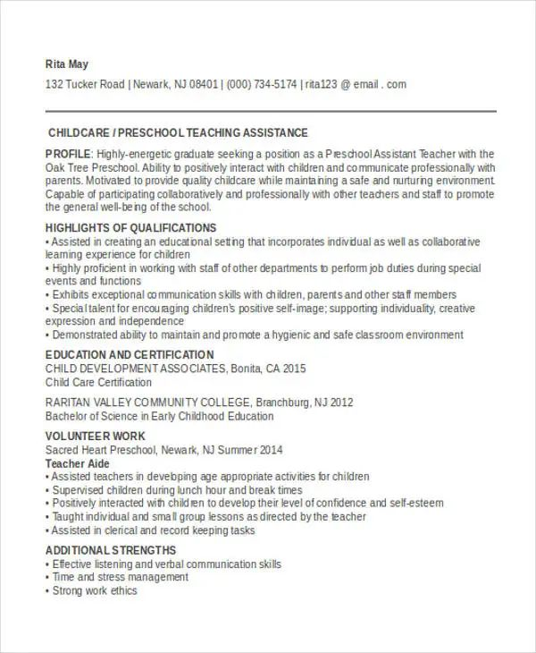 assistant teacher resume with no experience